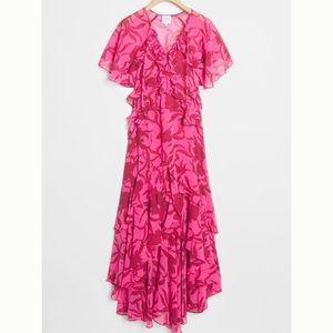 NWT misa high low ruffle dress